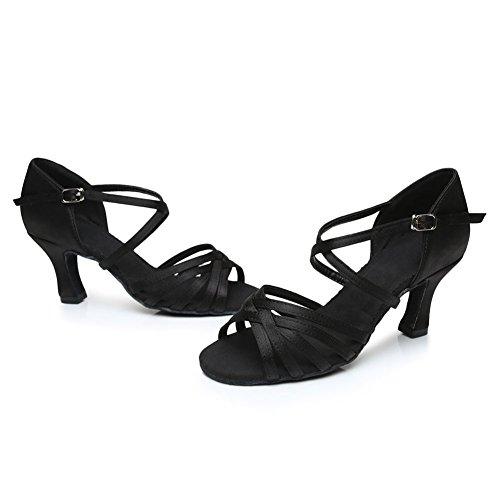 Cdso 3 Kleuren Dames Satijn Salsa Ballroom Latin Dansschoenen Hak 2.76 Inches Zwart - Hak 2.76 Inches