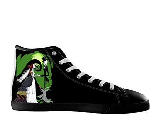 De Nachtmerrie Voor Kerst Logo Mens Antislip Zwart Hoge Schoenen Tnbc Canvas Shoes03