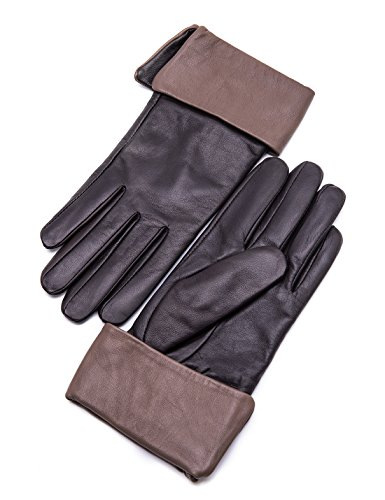 hscreen Sheepskin Cuffed Leather Gloves Diva Stylish Hand Warm Fleece Fur Lined and Taupe Cuff for Ladies Winter Accessories Luxury Dress Driving iPad Xmas Gifts, Brown 6.5
