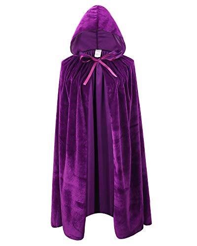 Kids Velvet Cape Cloak with Hood Unisex-Child Cosplay Halloween Christmas Costume (100cm/39.4inch, Purple) -