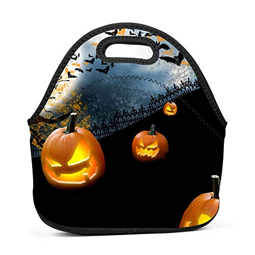 Green House Halloween Lunch Bag Reusable Bento Tote Bag Lunch Box with Zipper for Children -