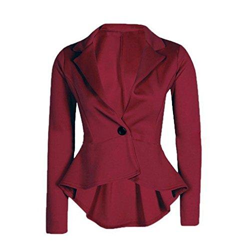 True Meaning Nice short suit jacket for women Frill Shift Slim Fit Peplum Blazer Jacket Coat outwear (L, Wine)