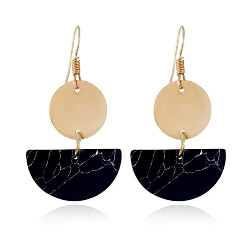 Hatoys Fashion Bohemian Folk semicircular Round Dangle Earrings Jewelry (Black)
