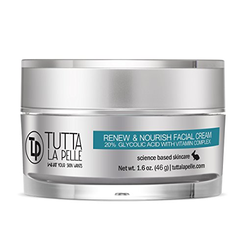 RENEW & NOURISH 20% AHA Facial Cream, 20% Glycolic Acid with Vitamin Complex – ACNE, Anti-Aging, KP - Keratosis pilaris, Anti-Wrinkle / Fine Line Cream – - 1.6 oz creme ()