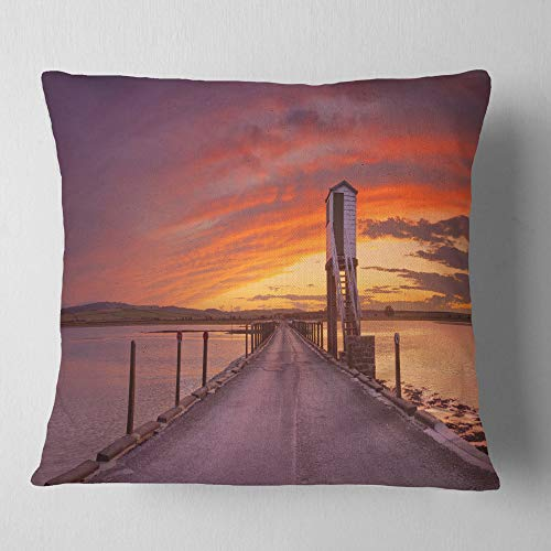 Designart CU11556-26-26 Holy Island of Lindisfarne Panorama' Wooden Sea Bridge Throw Cushion Pillow Cover for Living Room, Sofa, 26 in. x 26 in, Pillow Insert + Cushion Cover Printed on Both Side by Designart