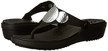 Crocs Women's Sanrah Embellished Flip Wedge Sandal, Blacksilver Metallic, 9 M Us 5