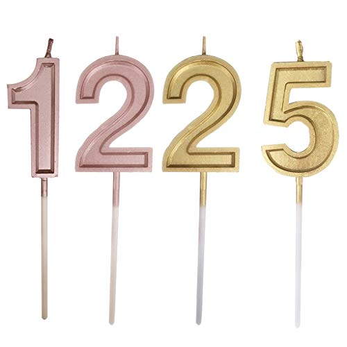 Weiliru Birthday Celebration, Numeral Metallic Candle, Party Supplies, Birthday Numeral ()