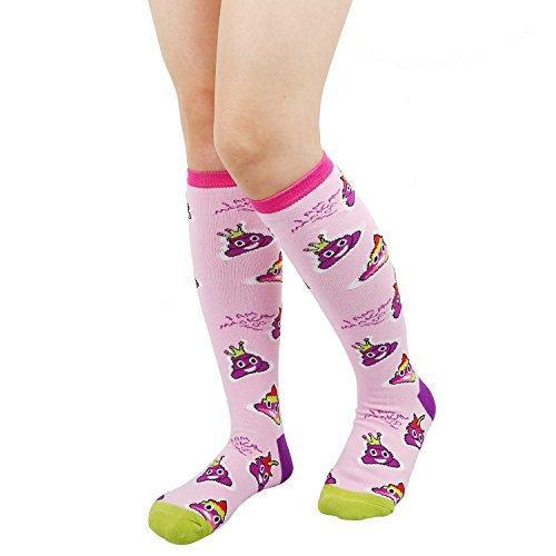 Women's Girls Novelty Over Calf Knee High Socks Funny Crazy Rainbow Unicorn Shark Attack Boot Sock (Medium, poop new) -