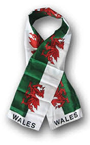 Wholesale set of 2 Wales Welsh Country Lightweight Flag Printed Knitted Style Scarf ()