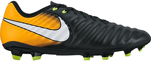 NIKE Men's Tiempo Ligera Ivi Leather FG Soccer Cleat (SZ. 7) Black, Laser Orange (James Rodriguez Shoes Soccer)