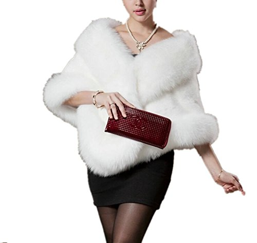 Zofirao Women's Fashion Luxury Soft Long Faux Fox Fur Shawl (White)
