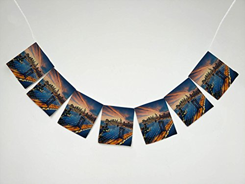 Manhattan Cityscape - Cityscape Manhattan Brooklyn Bridge New York City Skyline Banner Bunting Garland Flag Sign for Home Family Party Decoration
