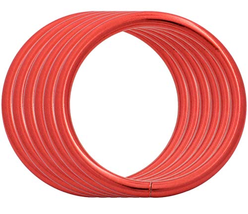 BIKICOCO 3.8 cm Metal O-Ring Buckle Connector Round Loops Non Welded for Bags Webbing Purse and Belt Straps, Red, Pack of 6
