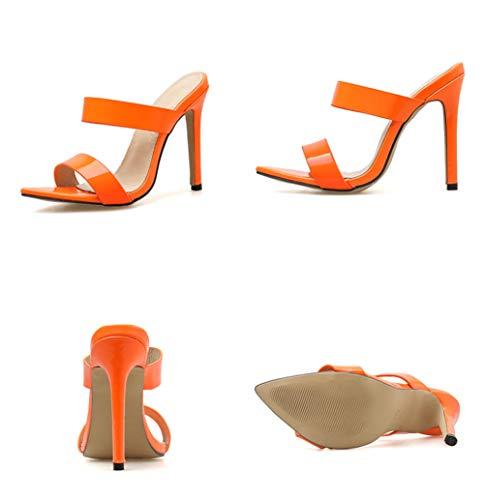 Tacón Fino De Sandalias 37 Verano Brillante Zapatillas Alto Mujer Propina Durable Antideslizante orange Respirable Puntera Cuero Tacon Yw1wCnOxq