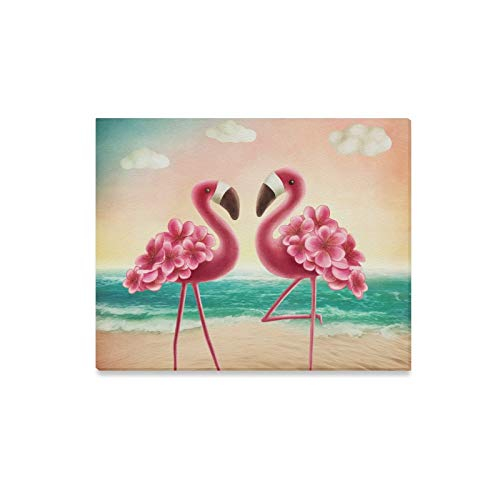Wall Art Painting Two Tropical Flamingos On The Beach Prints