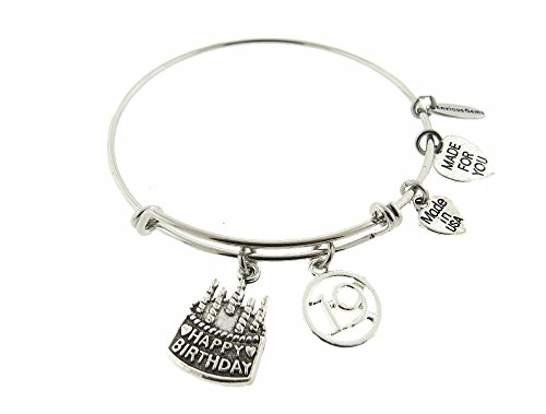 Envious Gems Happy 19th Birthday Silver Tone Expandable Wire Bracelet -