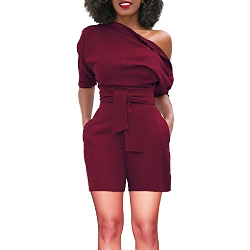 vermers Women's Short Romper - Sexy Off Shoulder Ruffle Fashion Casual Jumpsuit(S, Wine)