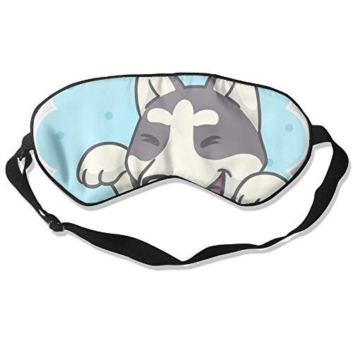WUGOU Sleep Eye Mask Happy Dog Wave Lightweight Soft Blindfold Adjustable Head Strap Eyeshade Travel Eyepatch -