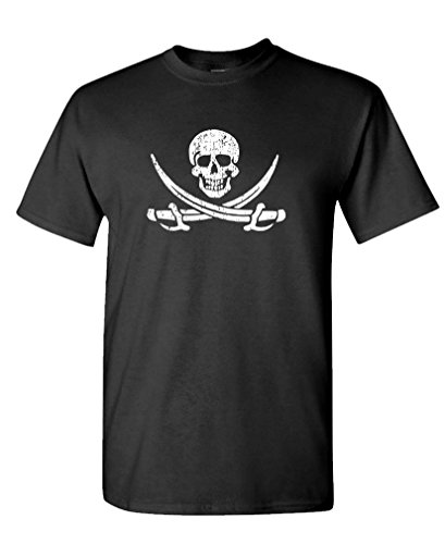 Calico Jack - Pirate Skull Flag Treasure - Cotton T-Shirt, M, Black USA Made