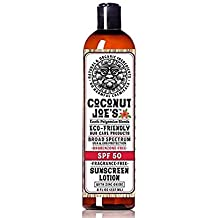 Zinc Oxide Sunscreen from Coconut Joe's | Natural & Organic Sunscreen Lotion, Mineral Sunscreen, SPF 50, Fragrance Free Sunscreen, 8 ounce bottle