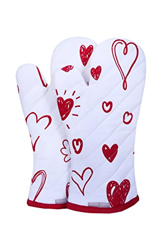 Oven Mitts, Valentine Hearts Design, Oven Mitts Heat