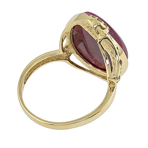 Jaipur - Bague Femme - Or jaune 375 (9 carats) Rubis et Diamants en or véritable de Rose