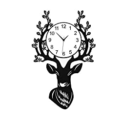 BFQY Art Wall Clock, Living Room, Simple Personality, Creative Wall Hanging Table, Modern Fashion, Nordic Deer Head, Quartz Clock (Size : Large)