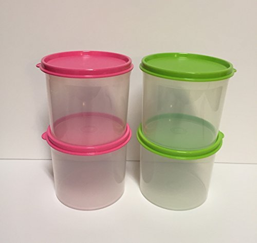 Tupperware Mini Canister Set Clear with Pink and Green Seals