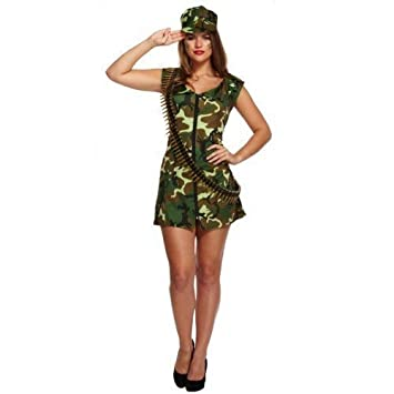Ladies Sexy Army Girl Military Hen Do Fancy Dress Costume Outfit Std