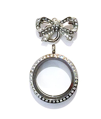 Wigspedia Stainless Steel Floating Charm 30mm Locket Brooch - Twist Open (Rhinestone Silver + Pin (Brooch))