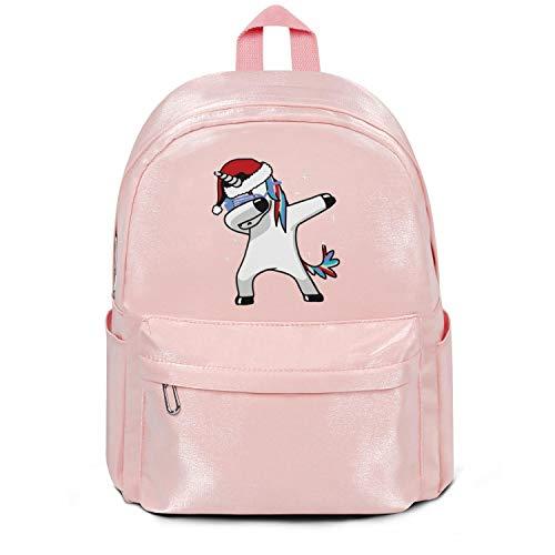Dabbing Unicorn with Santa Hat Bag Purse Fashion Nylon Lightweight School Backpack Bag