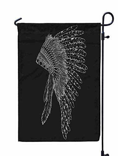 Shorping Welcome Garden Flag, 12x18Inch American Chief Headdress Boho Style for Holiday and Seasonal Double-Sided Printing Yards Flags -
