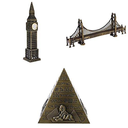Homyl Metal Famous Building Statues Big Ben Pyramid Golden Gate Bridge Miniatures ()