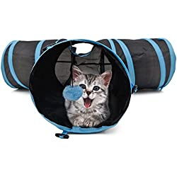 PAWZ Road Pet Play Tunnel Collapsible Three Way Cat Tube Toy for Rabbits Kittens Dogs with Ball Blue