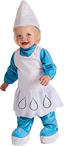 Toddlers Smurfette Costumes (Rubie's Costume The Smurfs 2, Deluxe Smurfette Romper and Headpiece, Blue/White, Toddler)