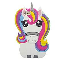 iPhone 4S Case, Anya 3D Cute Lovely Cartoon Animal Series Style Rainbow Unicorn Horse Soft Rubber Silicone Back Shell Case Cover for iPhone 4G 4S White Colorful