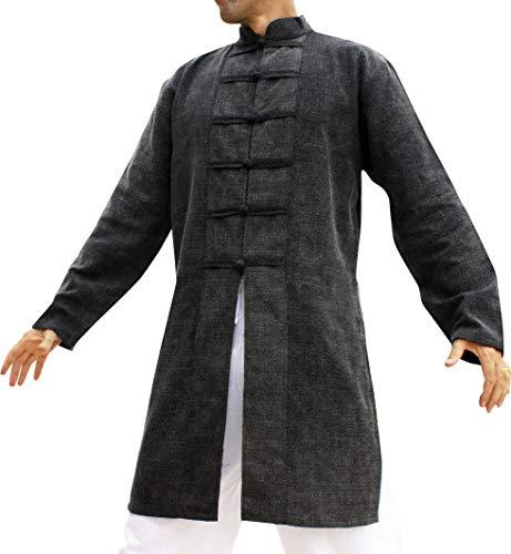 Svenine Chinese Style Handmade Cotton Jacket Long Kung Fu Shirt, Large, Stonewashed Yeaphai Cotton Black