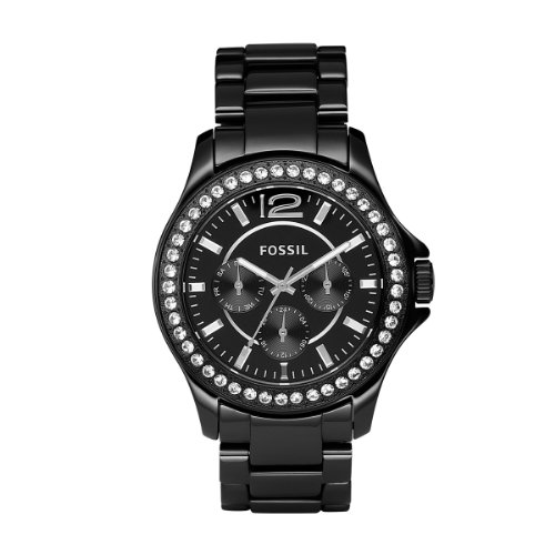 Fossil Women's CE1011 Black Ceramic Bracelet Black Glitz Analog Dial Multifunction ()