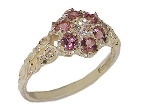 10k White Gold CubicZirconia & Pink Tourmaline Womens Vintage Daisy Ring - Sizes 4 to 12 Available (Pink Daisy Tourmaline)