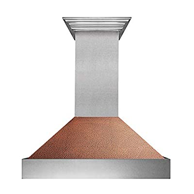 """36"""" Snow Finish Range Hood with Hand-Hammered Copper Shell (8654HH-36)"""