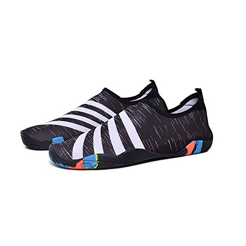 BlanKey Water Sports Shoes Quick-Dry Barefoot Flexible Flats Beach Swim Shoes For Men Women Kids Black&white 8c0zMK