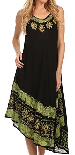 Sakkas A900 Batik Flower Caftan Tank Dress/Cover Up - Black/Green - One Size by Sakkas