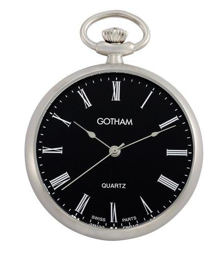 Gotham Men's Silver-Tone Open Face Roman Dial Quartz Pocket Watch # GWC14061SB
