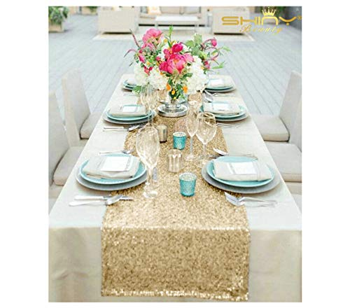 Table Runner With Lights (Sequin Table Runners Light Gold 14x108-Inch Wedding Table Decorations Champagne Gold Table Runners Pack of)