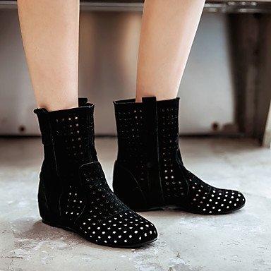 Botas de mujer Comfort Polipiel Otoño Invierno vestimenta informal poca comodidad hebilla talón de cuña Ruby amarillo gris negro 1A-1 3/4 pulg. Black