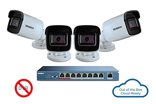 Uniden Security System, 8 Outdoor Camera Security Cloud System with 9-Port PoE Switch & 8 x 100