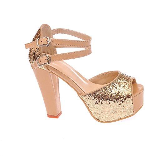 Amoonyfashion Donna Fibbia Peep Toe Tacchi Alti Sandali Assortiti Color Oro