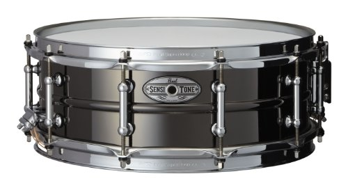 Pearl STA1450BR 14 x 5 Inches Sensitone Snare Drum - Beaded Black Nickel over (Beaded Brass Snare)
