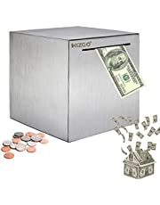 HIZGO Safe Piggy Bank Made Stainless Steel Adult Money Box Savings Bank for Kids Can Only Save Cannot Taken Out