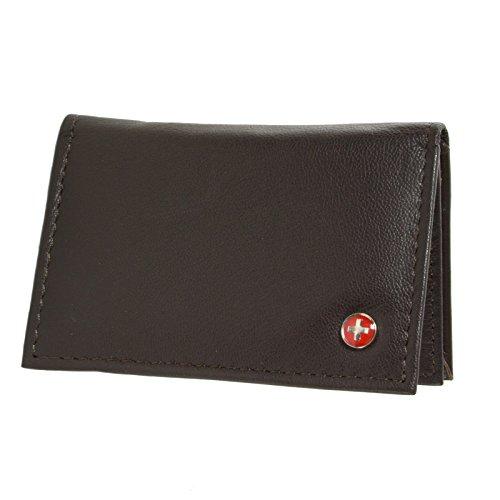 Alpine Swiss Genuine Leather Thin Business Card Case Minimalist Wallet Dark Brown